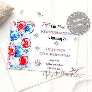 4th july birthday balloons invitation