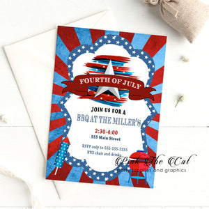 4th of july invitations red blue bbq birthday personalized (set of 30)