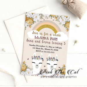 Alpaca invitations for twin girls birthday party printable