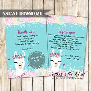 Alpaca Face Llama Girl Thank You Card Printable Instant Download