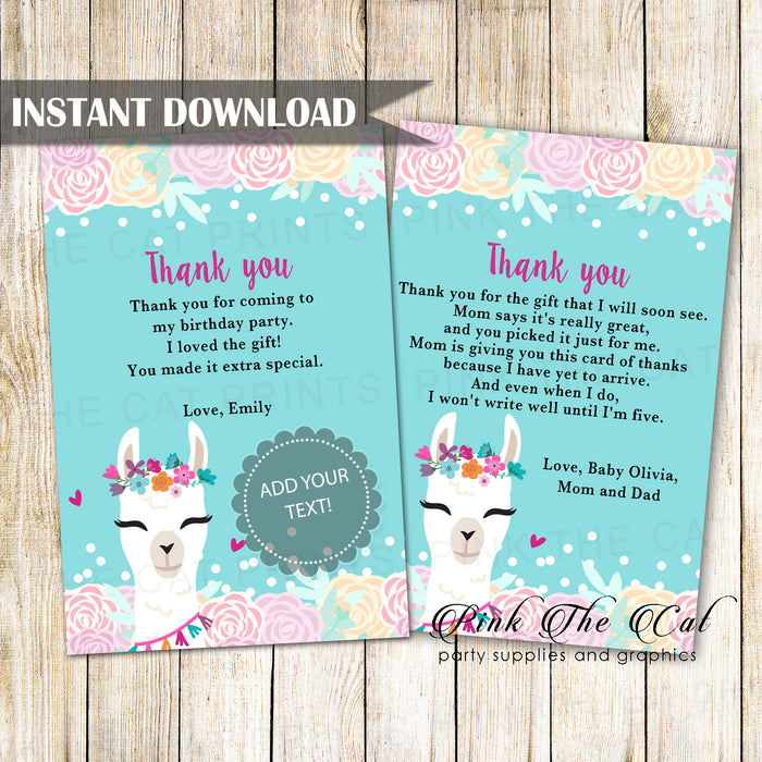 Alpaca Face Llama Thank You Card Printable