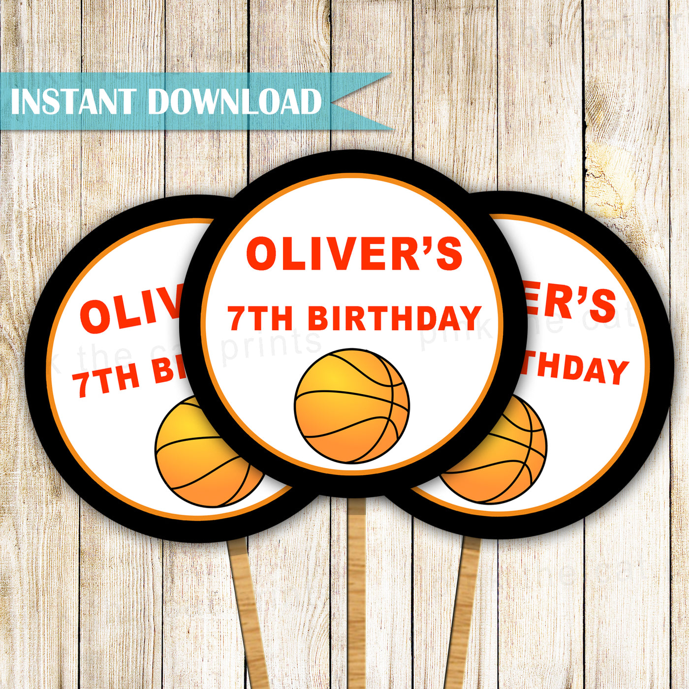 Basketball Cupcake Toppers Birthday Baby Shower Pink The Cat