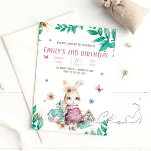 Bunny watercolor birthday invitation for girls personalized