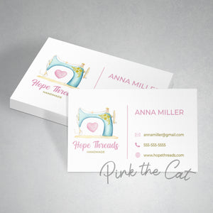 Premade button sewing business card
