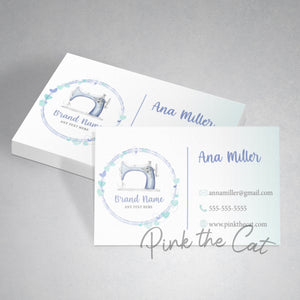 Premade hearts sewing business card lavender silvere