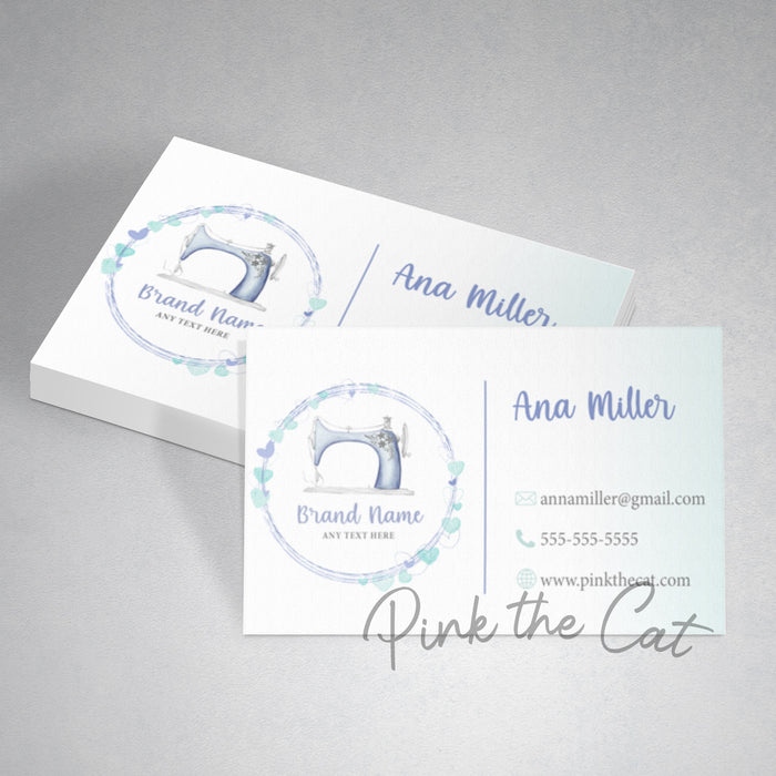 Premade hearts sewing business card