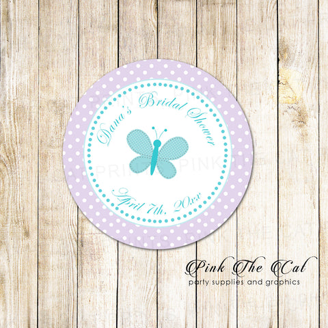 40 Butterfly Label Stickers Birthday Baby Shower Lavender Teal