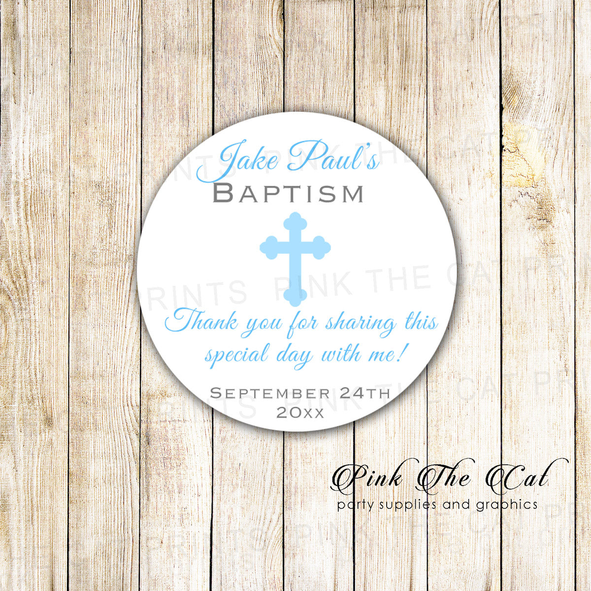 40 Stickers Blue Boy Christening Baptism Favor Label Personalized Pink The Cat