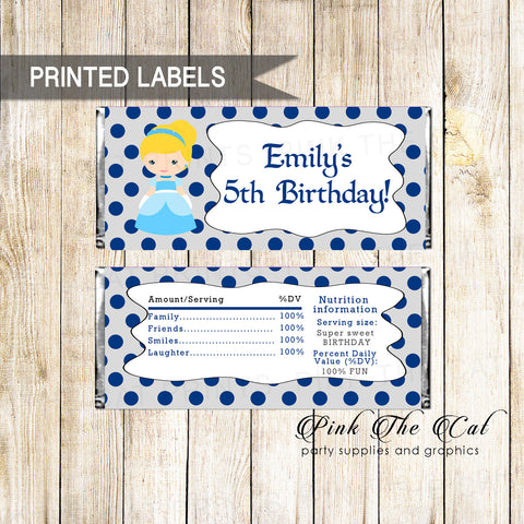 30 candy bar wrappers princess birthday baby shower blue silver