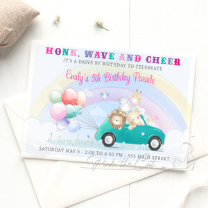 Drive by parade animals invitation