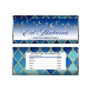 Eid mubarak gold blue candy bar