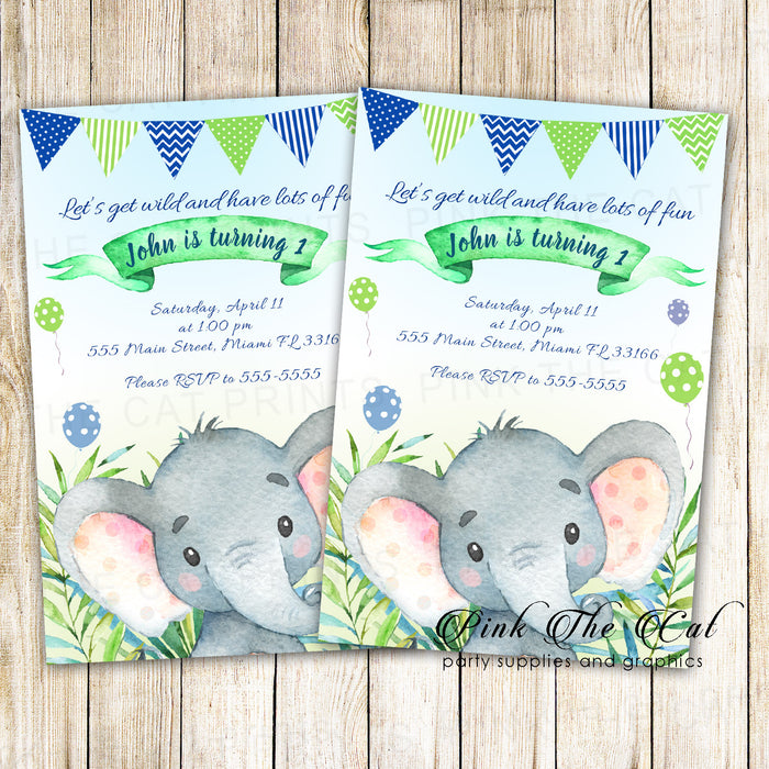 30 invitations watercolor painted elephant boy birthday party
