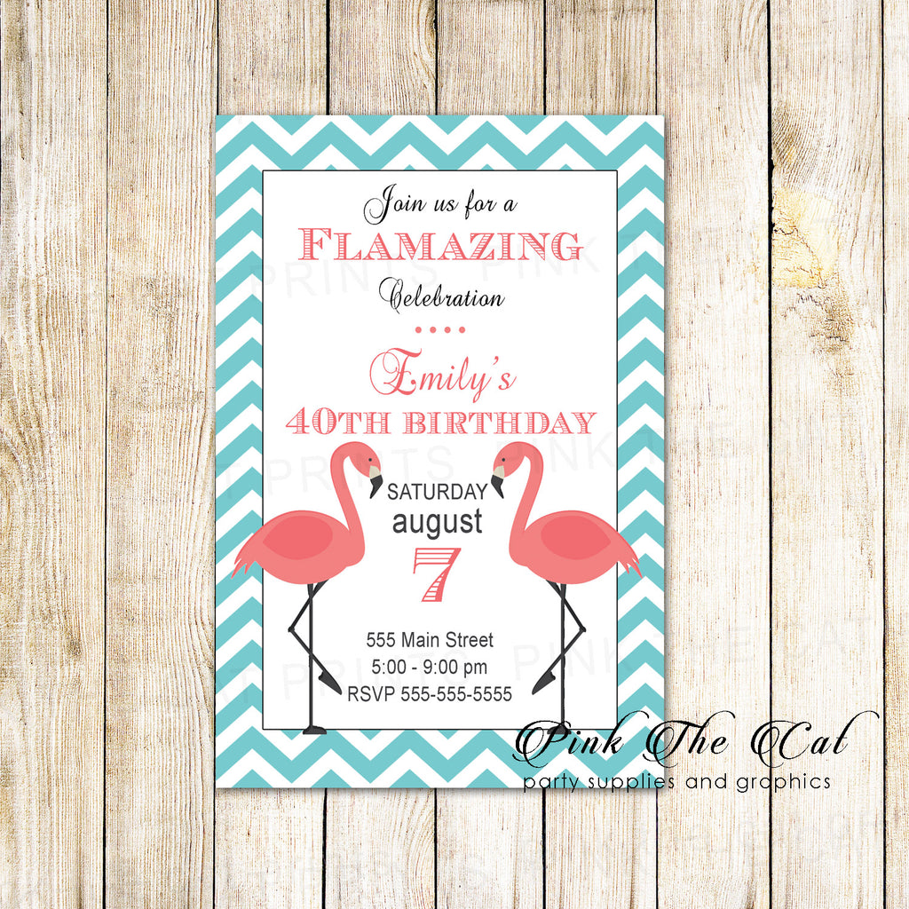 30 Invitations Adult Birthday Bridal Shower Flamingo