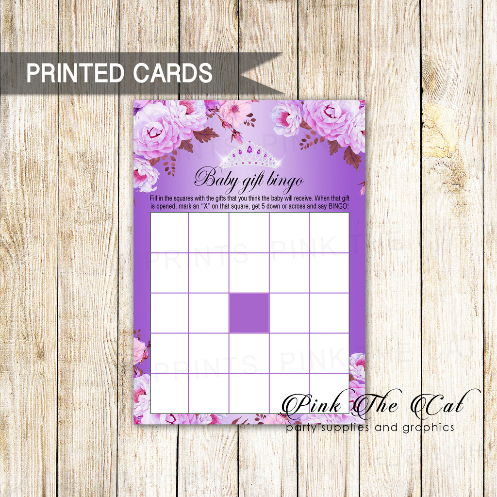 30 Princess Tiara Bingo Cards Diamonds Purple Floral