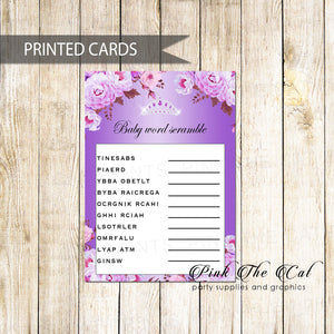 30 Princess Tiara Scramble Cards Diamonds Purple Floral