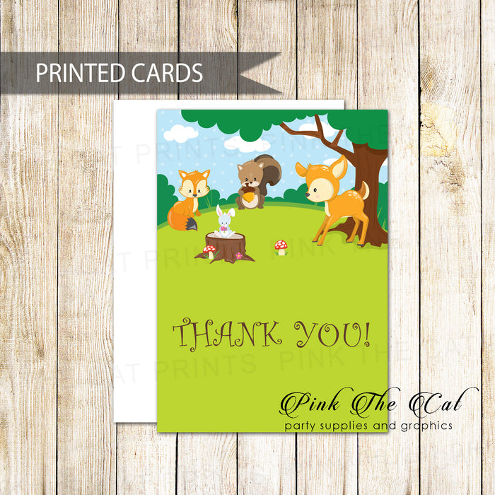 30 thank you cards folded woodland forest with envelopes