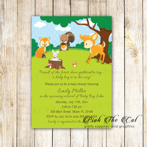 Forest woodland birthday baby shower invitations printable