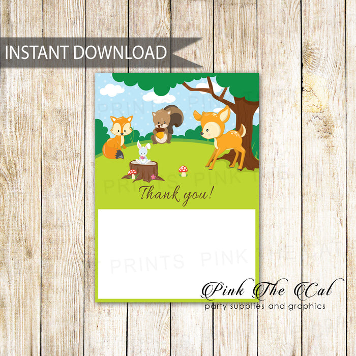Thank you cards blank forest woodland printable