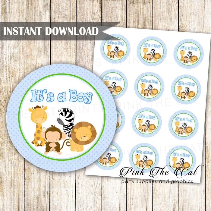 Jungle blue favor label its a boy printable