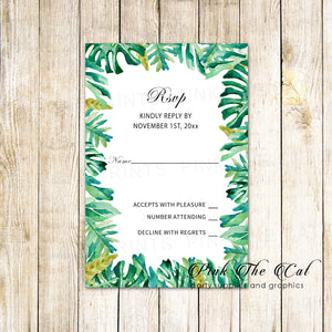 100 RSVP cards botanical wedding leaves border
