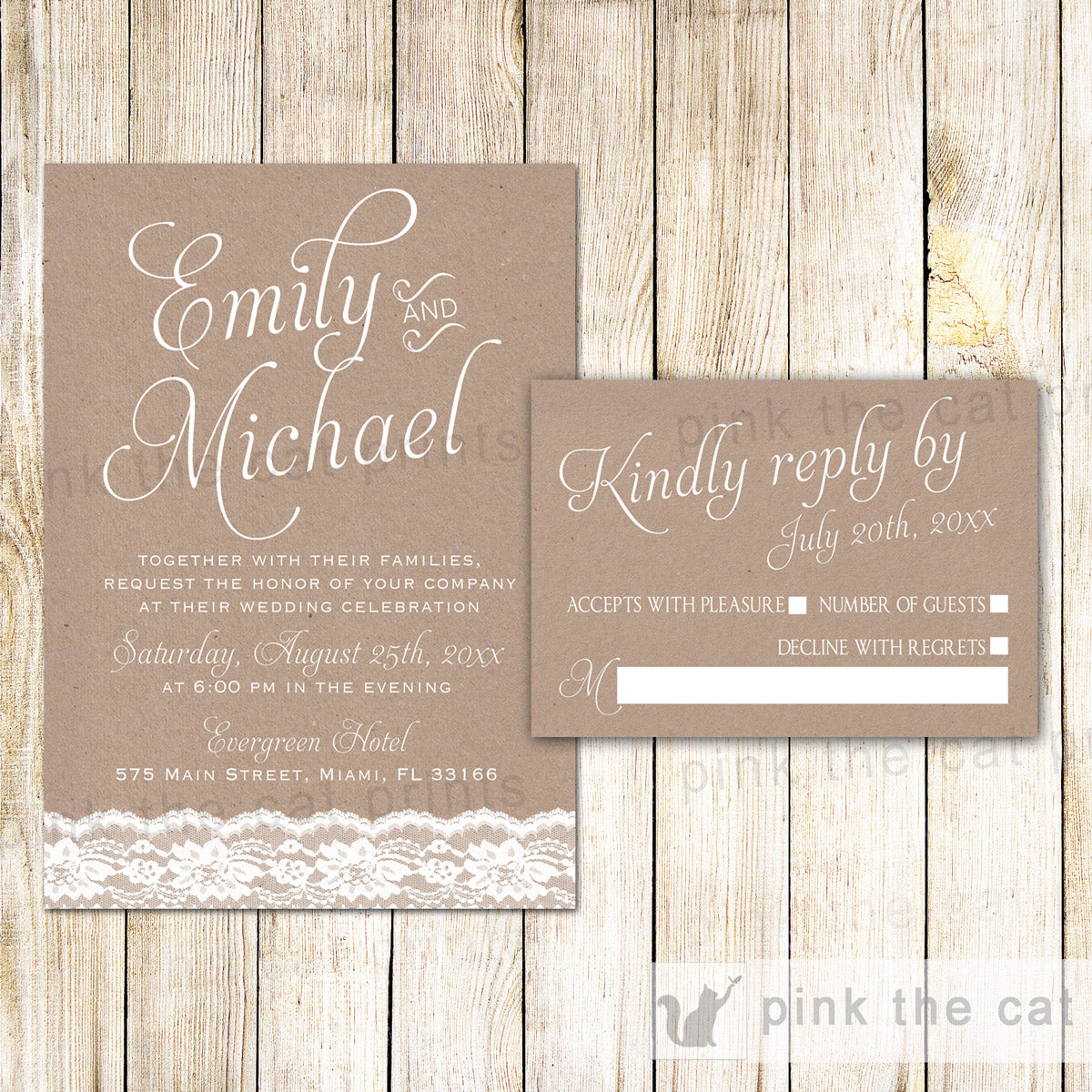 Lace Rustic Wedding Invitations Rsvp Cards Pink The Cat
