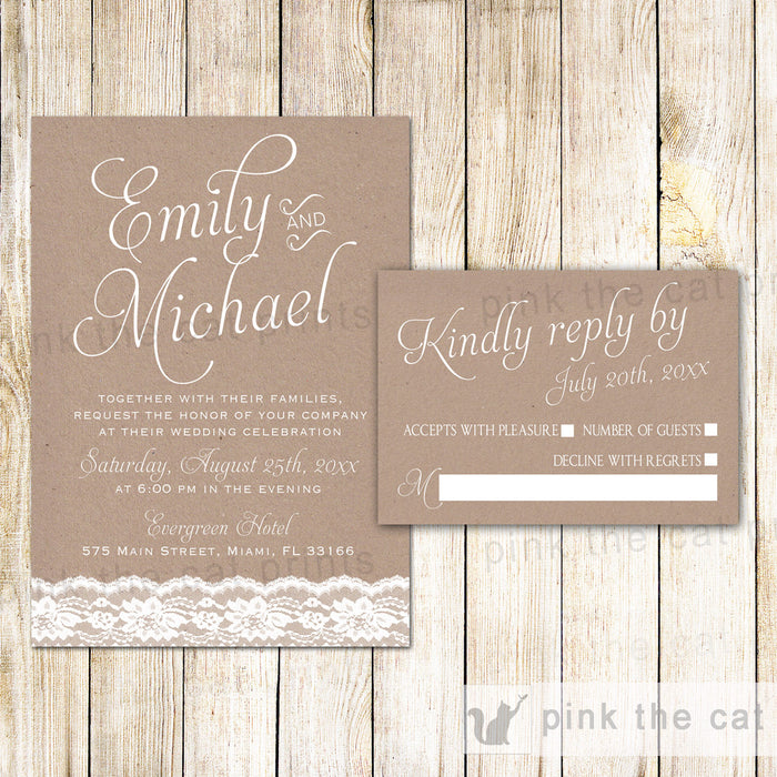 Rsvp Cards For Wedding Invitations: Lace Rustic Wedding Invitations & RSVP Cards