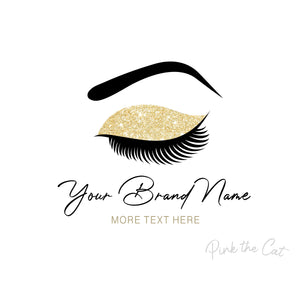 Premade eyelashes makeup artist business logo design glitter gold eye