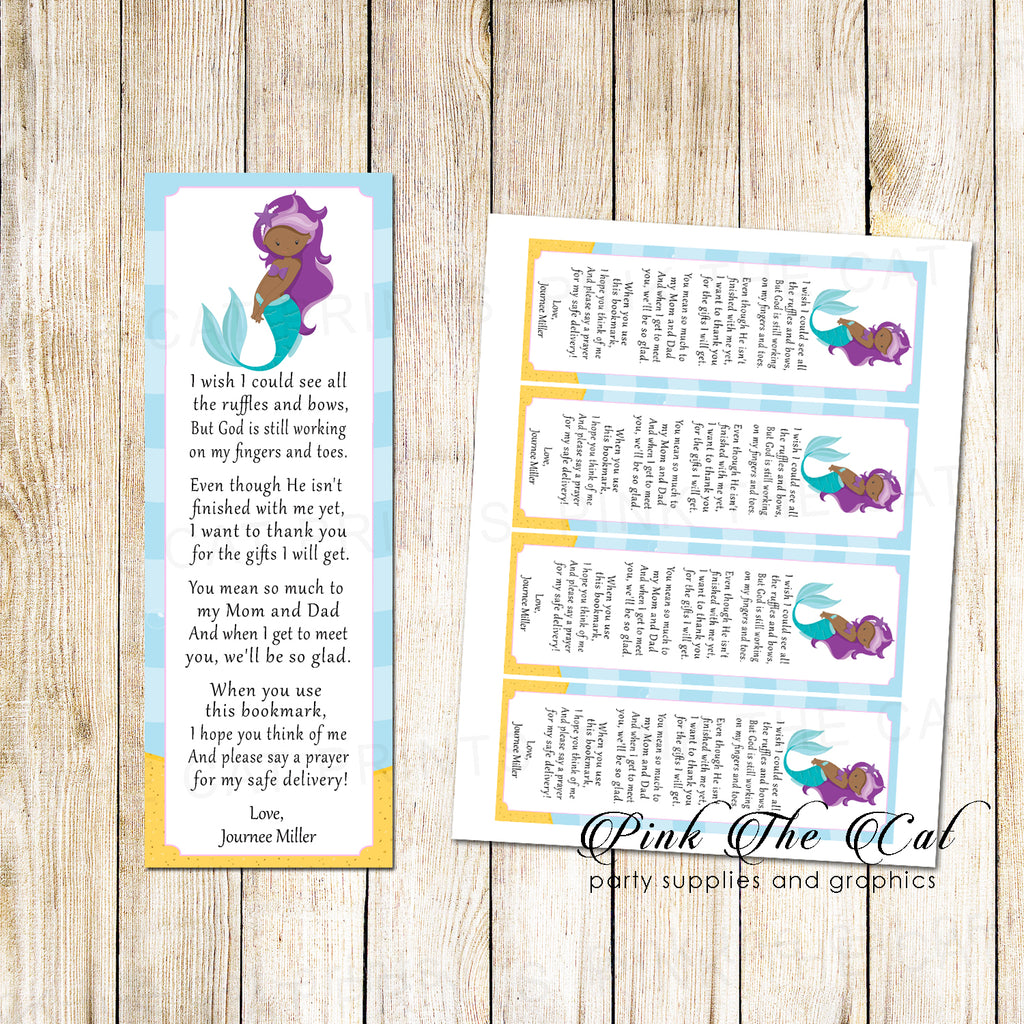 50 Mermaid Bookmarks Favor Baby Girl Shower African American