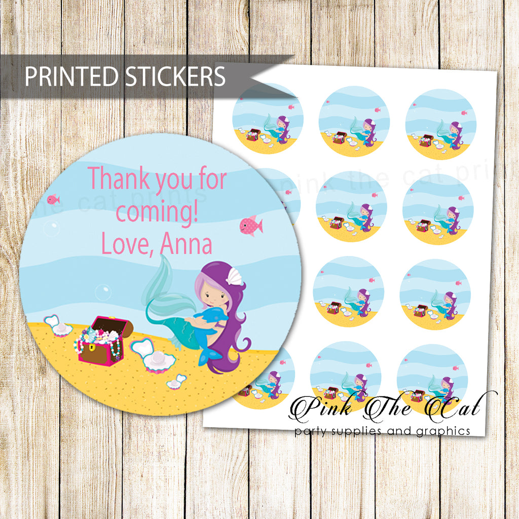 40 Mermaid Favor Label Stickers Birthday Baby Shower