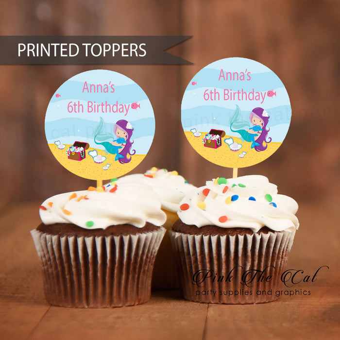 30 Mermaid Cupcake Toppers Girl Birthday Baby Shower