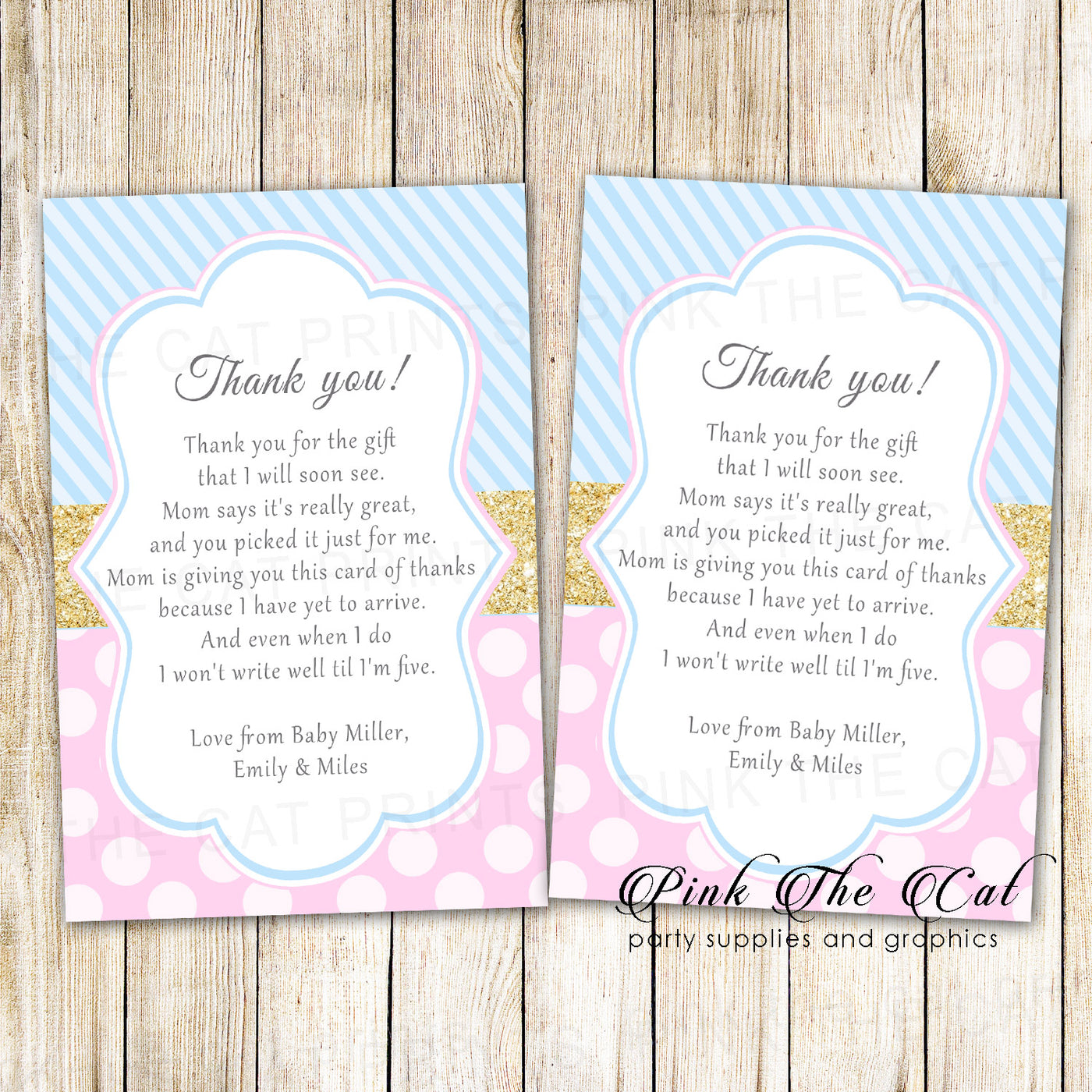30 Thank You Cards Pink Blue Gold Baby Shower Unisex Pink The Cat