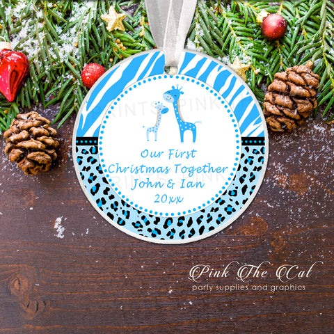 Personalized Christmas ornament  blue giraffes baby boy