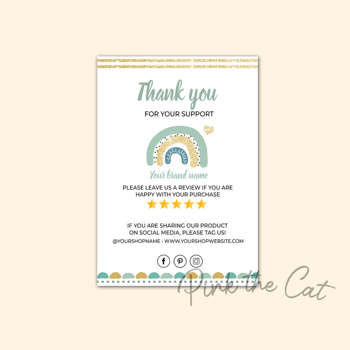 Business thank you card boho rainbow #3