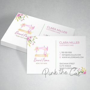 Premade pink sewing machine business card