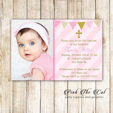 30 Girl Baptism Christening With Photo Invitations Pink Gold