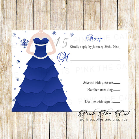100 RSVP cards sweet 16 quinceanera winter wonderland
