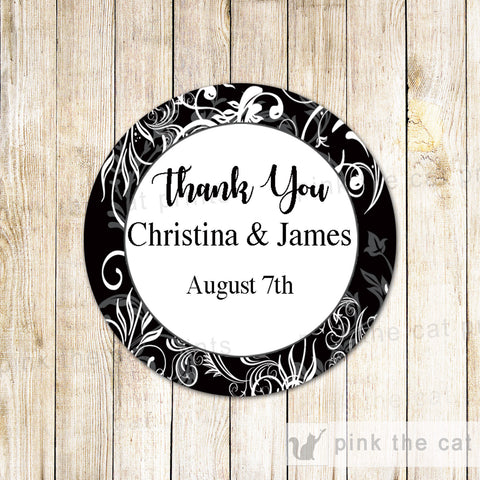 Black White Swirl Favor Label Sticker Gift Tag Wedding Bridal Shower