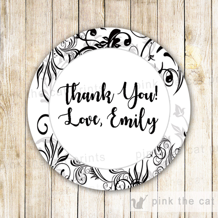 Black White Swirl Favor Label Sticker Gift Tag Birthday Bridal Shower