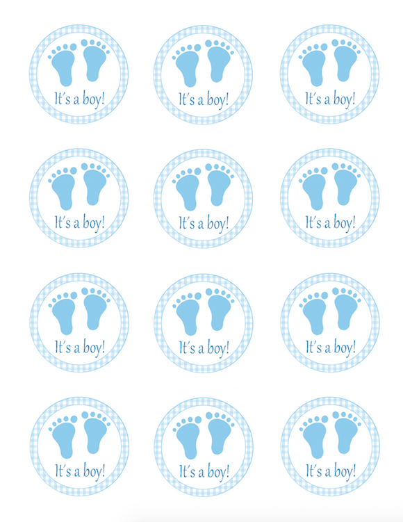 Blue Gingham Favor Label Its A Boy Stickers Baby Boy ...