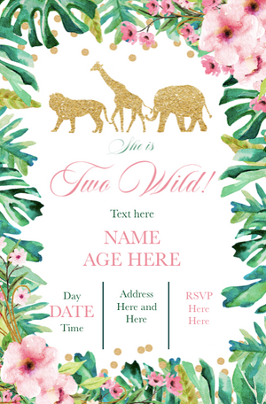 Jungle two wild birthday invitation printable