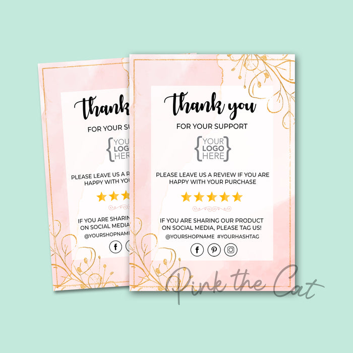Business thank you card watercolor pink