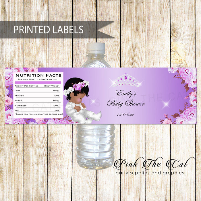 30 bottle labels princess african american baby shower purple