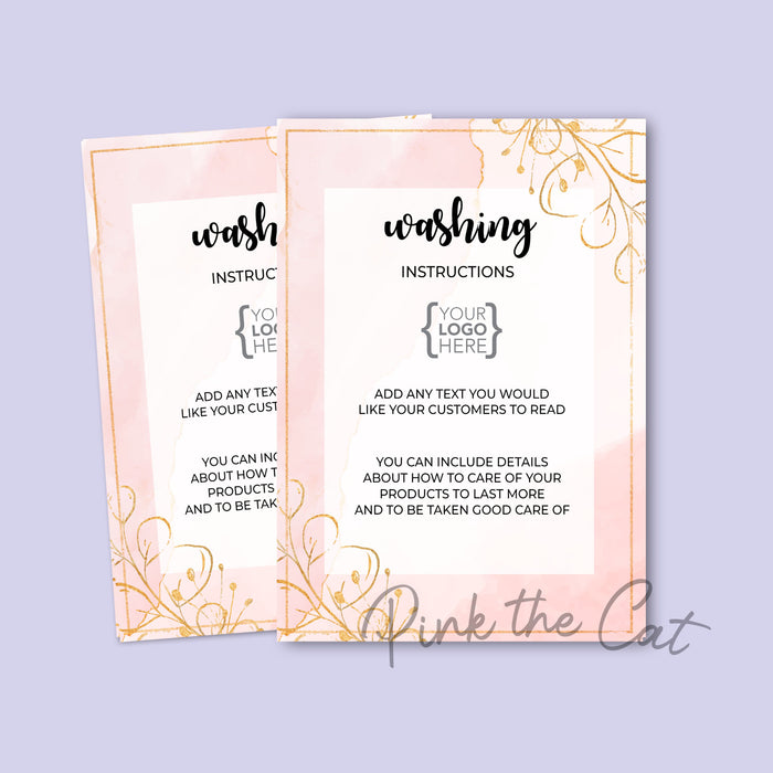 Washing instructions card floral pink