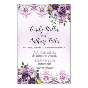 30 Floral Wedding Invitations & RSVP Cards - Reserved