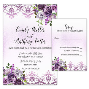 Floral Wedding Invitations & RSVP Cards Plum Violet Damask 100 pack