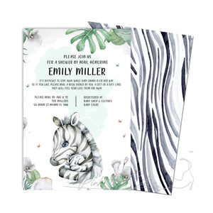 Mom and baby zebra shower by mail invitation