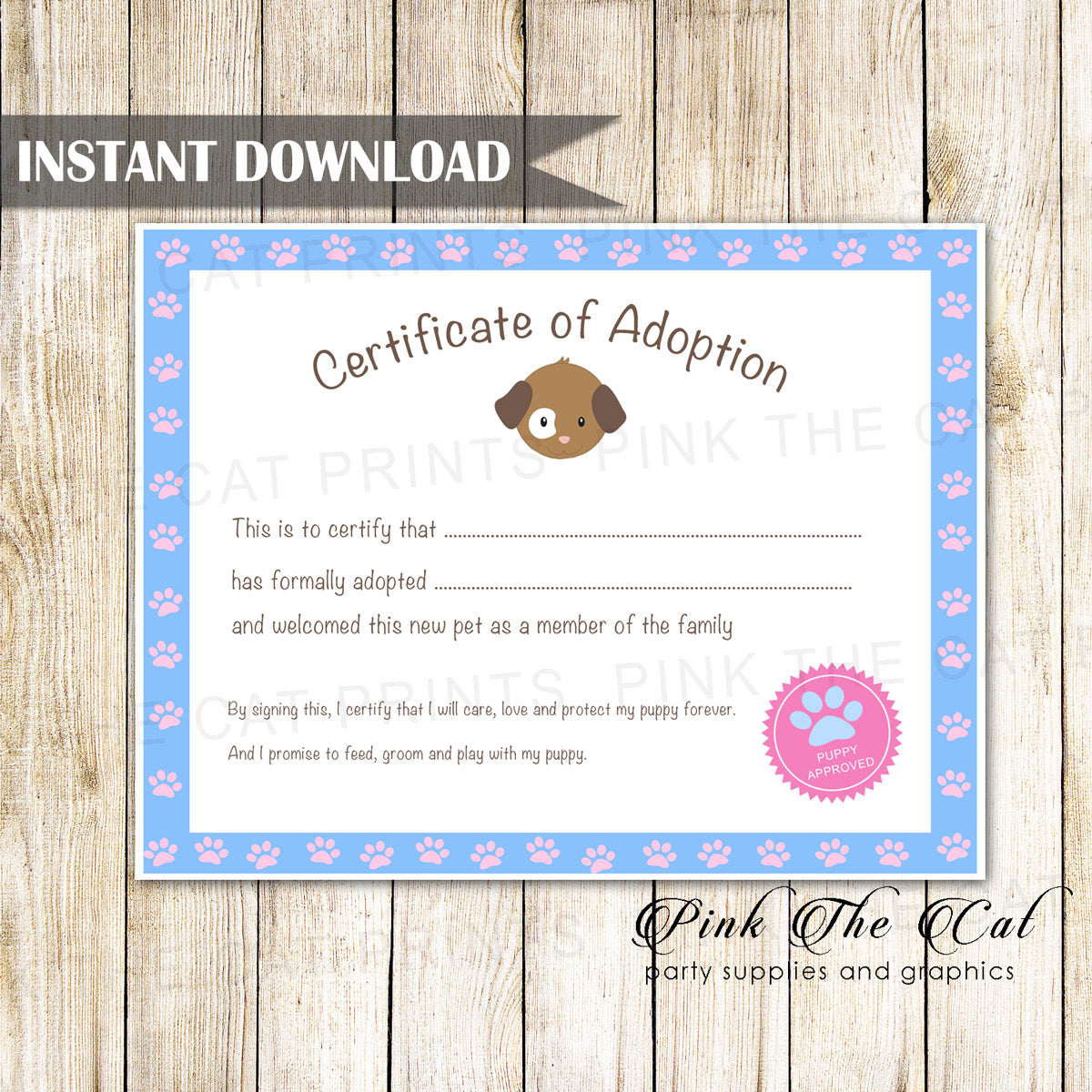 Certificate Of Adoption Puppy Birthday Party Blue Pink Pink The Cat