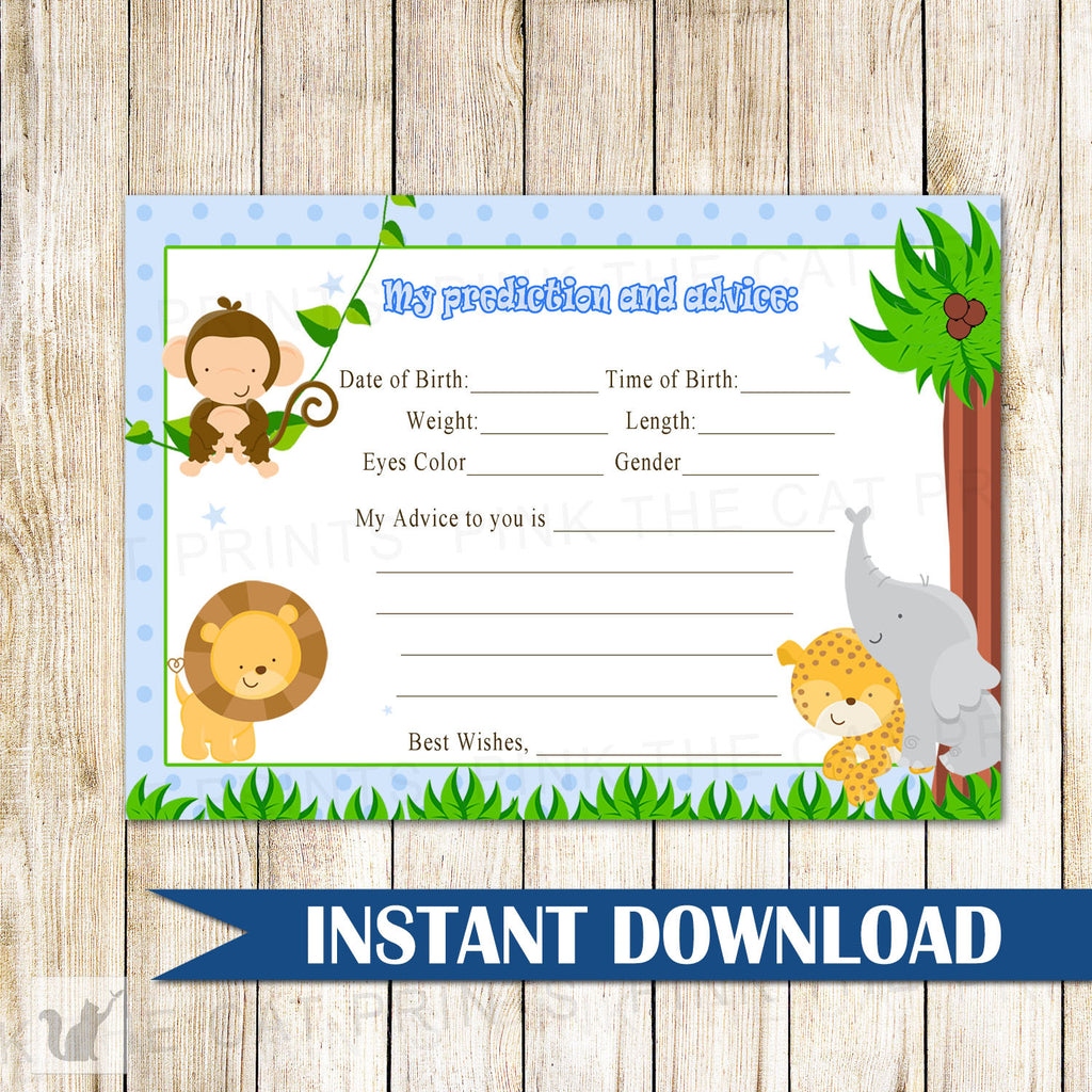 Blue Jungle Prediction And Advice Card Baby Boy Shower