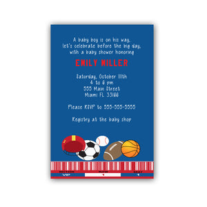 30 All sports blue invitations & envelopes personalized baby boy shower