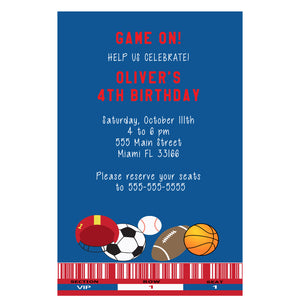 All sports blue invitations & envelopes (set of 30)